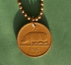 Excited to share the latest addition to my #etsy shop: 1946 Irish coin necklace, Ireland Necklace, 'Ha'penny' or Halfpenny Sow and Litter Pendant, 71st Birthday Celtic Harp Coin copper coin http://etsy.me/2hHUO3I