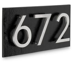 Modern House Numbers Plaque – 4 Inch 'Floating' Numbers Floating House Number Plaque shown in Black Background with Two Tone Polished Satin Nickel Finish (Crafted by Montague Metal ) Door Number Sign, House Number Plaque, Metal House Numbers, Address Numbers, Address Plaque, House Plaques, House Address, Beautiful Homes, House Beautiful
