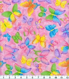 Novelty Cotton Fabric-Butterfly Glitter Pink