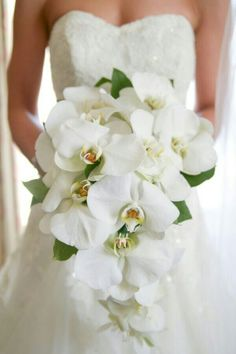 {GORGEOUS Cascading Bridal Bouquet With White Beautiful Phalaenopsis Orchids & Green Foliage}