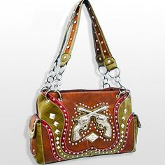 Brown Cowgirl Double Pistol Western Purse