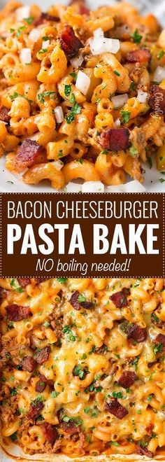 No-Boil One Pan Bacon Cheeseburger Pasta Bake: this weeknight dinner recipe is a tasty twist on an American classic, the bacon cheeseburger. One pan, no pre-cooking the beef, and no boiling the pasta. it all bakes together into the best bacon cheeseburg Pasta Recipes, Cooking Recipes, Healthy Recipes, Bacon Recipes For Dinner, Appetizer Recipes, Cooking Bacon, Bacon Hamburger Recipes, Best Dinner Dishes, Best Pasta Bake Recipe