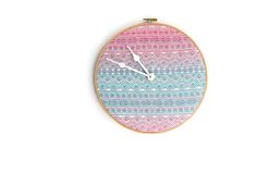 Only Cathy may purchase this listing.    This listing is for a Didymos Indio Aurora wrap scrap hoop clock with white hands and twelve white embroidered numbers.  **Wrap placement may vary slightly from the picture provided. **  It can be hung on the wall, placed on a shelf or you can hang it ...