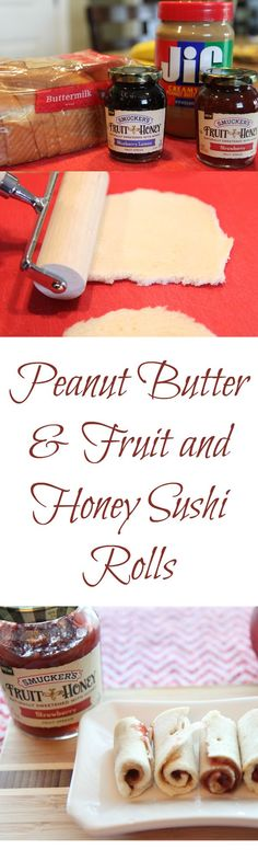 Delicious Peanut Butter and Fruit and Honey Sushi Rolls B Food, Good Food, Yummy Food, Snack Recipes, Cooking Recipes, Fast Recipes, Appetizer Recipes, Appetizers, Fruit Box