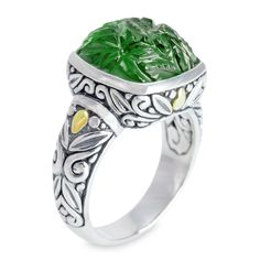 Carved Green Malachite Ring Set in Sterling Silver & 18K Gold Accents   Cirque Jewels