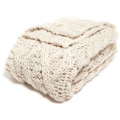 """Nordstrom at Home Chunky Cable Throw - 60"""""""" x 50"""""""" ($60) ❤ liked on Polyvore featuring home, bed & bath, bedding, blankets, ivory dove, handmade blankets, chunky knit throw, chunky knit throw blanket, cream blanket and chunky throw blanket"""
