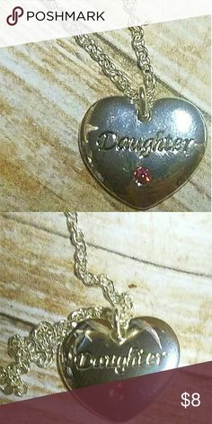 """**NEW** Daughter Silvertone Heart Pendant N290~Colette Hayman's """"Daughter"""" silvertone engraved  heart pendant w/ pink crystal accent Colette Hayman Jewelry Necklaces"""