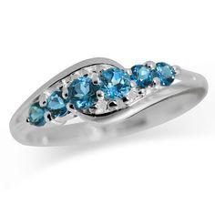 Natural London Blue Topaz 925 Sterling Silver Journey Ring RN0087500 SilverShake.com
