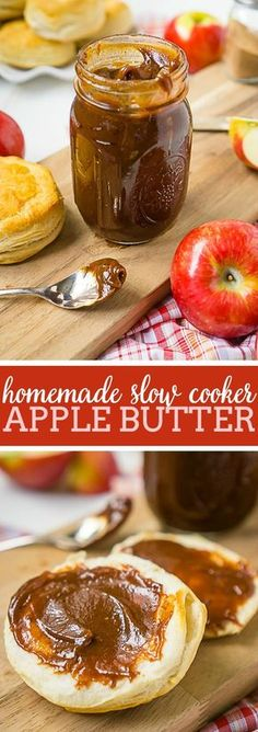 Homemade Recipe for Apple Butter in Slow Cooker - Flavorful, spice, and incredibly rich! Inspired by the Cracker Barrel Apple Butter Recipe, this slow cooker apple butter recipe is easy to toss together and easily the best apple butter you've ever tasted! | The Love Nerds #applebutterrecipe #slowcookerapplebutter #crockpotapplebutter via @lovenerdmaggie
