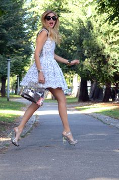 Blonde Salad MSGM Lace Dress Hermes Kelly Plastic bag Prada Shoes Celine Sunglasses