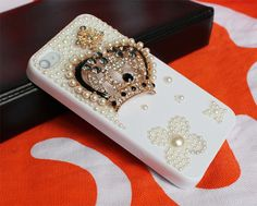 diamond  iphone 4 case,white  iphone cases 4 4s,   crystal crown iphone 4 4scover. $19.99, via Etsy.