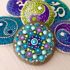 Dot Art Mandala Painted Stone Fairy Garden Gift Decoration
