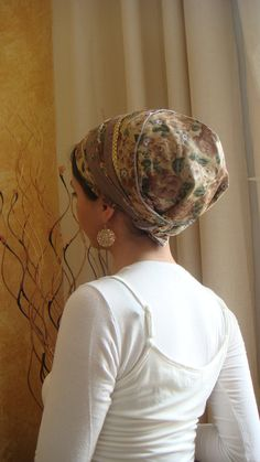 Purple apron style Tichel fancy jewish headcovering tichel headscarf by oshratdesignz Ponytail Wrap, Hair Cover, Headgear, Modest Outfits, Scarf Styles, Head Wraps, Apron, Bandana, Hair Accessories