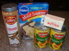 peach cobbler pound cake Peach Dump ounce) cans peaches in heavy syrup 1 ( ounce) package yellow cake mix cup butter 1 Tablespoon sugar teaspoon ground cinnamo Cake Mix Cobbler, Peach Cobbler Dump Cake, Peach Cobbler Yellow Cake Mix Recipe, Butter Brickle, Dump Cake Recipes, Dump Cakes, Fruit Recipes, Bread Recipes, Dessert Recipes