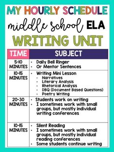 Middle School ELA Schedule (Daily, Weekly, Monthly, Year-Long Pacing) – The Hungry Teacher - scdeskak Ela Classroom, Middle School Classroom, English Classroom, Ela High School, English Teachers, High Schools, Google Classroom, Classroom Organization, Teaching English