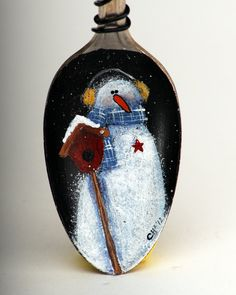 Handpainted Snowman on Vintage Spoon Ornament by shopch2 on Etsy, $14.00