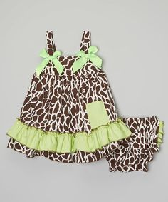 Look at this Green & Brown Giraffe Ruffle Swing Top & Diaper Cover - Infant on #zulily today!