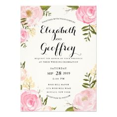 pink floral watercolor wedding invitations with pink peonies and roses // boho chic wedding invitations #weddinginvites at http://www.zazzle.com/modern_vintage_pink_floral_wedding_invitation-161340210129804330?rf=238395237176455059