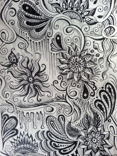 Zentangle Inspired Flower Composition  pen & ink by Megadesignz on etsy, $24.00