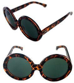e964f41d8 Women's Large Thick Round Shape Hippie Designer Tortoise Frame Sunglasses  Retro #Unbranded #Round