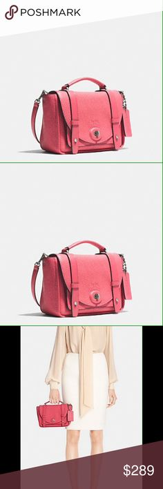 """🎀RARE🎀 Coach Mini Brooklyn Messenger Bag Exquisite messenger bag finished with plump pebbled leather with harness straps and a distinctive leather-covered Coach turnlock. This petite version of the new Brooklyn Messenger has a subtle downtown edge. It comes with an adjustable shoulder strap for hands-free wear. Inside zip, cell phone and multifunction pockets. Fabric lining. Handles with 3"""" drop. Longer strap with 22 1/2"""" drop for shoulder wear. 9"""" (L) x 6 1/2"""" (H) x 3 1/4"""" (W). Color…"""