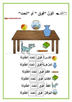 تنظيم الفضاء : فوق – تحت مع تمارين خط – موقع مدرستي Arabic Sentences, Arabic Phrases, Arabic Alphabet Pdf, Alphabet Activities Kindergarten, Arabic Handwriting, Color Flashcards, Learn Arabic Online, Islam For Kids, Arabic Lessons