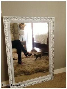 large wall mirror shabby chic white chalk paint by