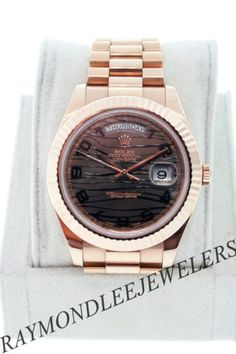 Rolex 18K Rose Gold Day-Date II 218235 Chocolate Waves Dial Watch
