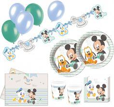 """Baby Shower und Baby Party Deko Ideen mit Disneys Mickey, Pluto und Donald in hellblau - Das komplett Set """"74 Teile Disney Baby Micky Maus and Friends Party Deko Set 16 Personen"""" gibt es bei uns im Shop."""