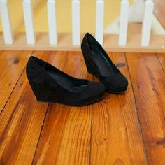 Black Wedge Heels Black suede wedges - size 8 by Apt. 9 Great condition Apt. 9 Shoes Wedges