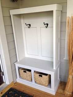 Build your own DIY mudroom storage unit using this easy tutorial. Add functional and beautiful furniture to your home for a fraction of the price.