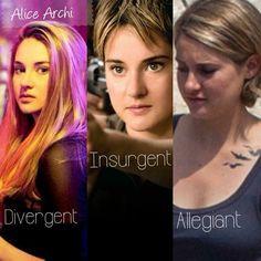 Divergent, Insurgent, Allegiant part 1. The evolution of Shailene Woodley as Beatrice Prior