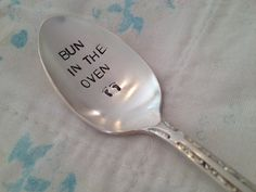 recycled silverware Bun In The Oven vintage hand stamped spoon pregnancy announcement Stamped Spoons, Hand Stamped, Recycled Silverware, Bun In The Oven, Chocolate Sprinkles, Baby Makes, Baby Feet, Little Babies, Vintage Silver
