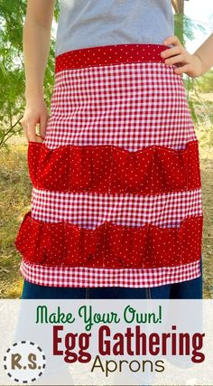 Make your own Egg Gathering Apron. Collect your eggs in style! With these cute, red-check, farm girl, country cotton calico, egg gathering aprons! Keep your eggs safe as they make their way into your house.