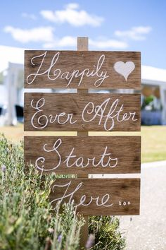 Happily Ever After Starts Here Sign. Visit http://www.rusticwishes.com for more signs like this.