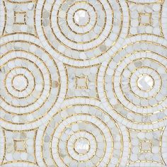 Orson, a hand-cut mosaic shown in Shell, honed Thassos, Gold Glass and polished Calacatta Pennyrounds, is part of the Aurora® collection by Sara Baldwin for New Ravenna. Calacatta Marble, Marble Mosaic, Mosaic Art, Mosaic Tiles, Tiling, Mosaic Mirrors, Mosaic Drawing, Easy Mosaic, Mosaic Wallpaper