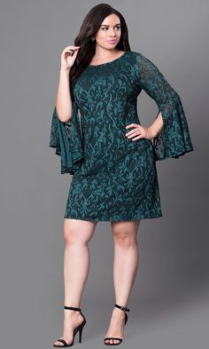 Shop plus-size party dresses at PromGirl. Cheap short green semi-formal lace party dresses with split bell sleeves and bateau necklines. Party Dresses With Sleeves, Green Lace Dresses, Plus Size Party Dresses, Lace Party Dresses, Simple Dresses, Plus Size Outfits, Nice Dresses, Short Dresses, Formal Dresses