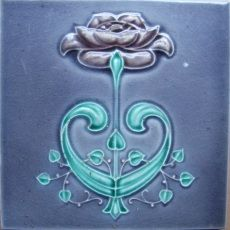 Dynamic, undulating, and flowing, highly stylized organic forms characterize much of Art Nouveau design. Many of the designs seem to spring to life and grow into plant-derived forms, as shown in the following beautiful ex- amples -- all of which are ideal for tile fireplace applications.