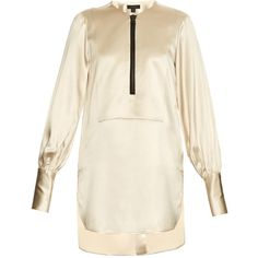 Ellery Zip-front satin blouse ($535) ❤ liked on Polyvore featuring tops, blouses, ivory, zipper front blouse, satin blouse, white top, ivory blouse and white satin blouse
