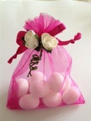 Pink organza wedding favour