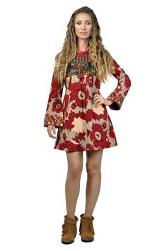 Savage Culture: Red Rose Chic Dress Hellen. Red Rose and Gold sprinkled print on a bohemian designed dress!