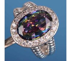 Rare~ Rainbow topaz in an oval cut & White topaz Gems Silver Ring Size 9 $23.99
