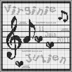 musique - music - note - point de croix - cross stitch - Blog : http://broderiemimie44.canalblog.com/