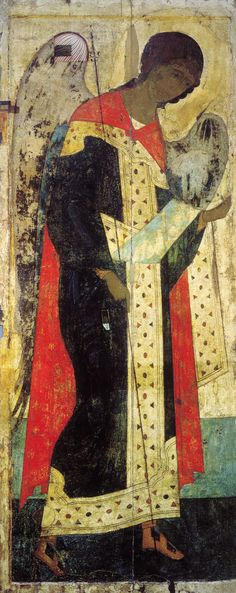 Saint Michael - Andrei Rublev, 1408 (Iconostasis at Dormition Cathedral, Vladimir) Byzantine Icons, Byzantine Art, Religious Icons, Religious Art, St Michael, Andrei Rublev, Angel Images, Russian Icons, Post Impressionism