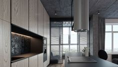 3 Concrete Lofts With Wide Open Floor Plans (Interior Design Ideas) Latest Kitchen Designs, Modern Kitchen Design, Modern Kitchens, Island Cooktop, Loft Kitchen, Clever Design, Design Case, Architectural Elements, Open Floor