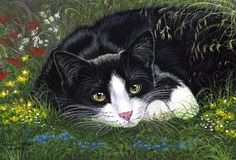 Tuxedo cat my secret garden limited edition print of painting anne marsh art
