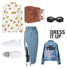 """""""Denim Love"""" by kainacloset93 ❤ liked on Polyvore featuring storets, Ganni, Puma, Polo Ralph Lauren, Crap and denimskirts"""