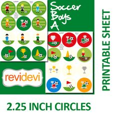 "Soccer boys images in circles. These images are perfect for any craft projects such as pocket mirrors, badge pin buttons, magnets, cupcake toppers, stickers, party labels, round tags, etc.  Format File: JPG (high resolution, 300 dpi)  Circle size: 2.625 inch  Main artwork is within inner 2.063 inch  Excess image goes to edge of 2.25 inch    This template size is based on Button Machines' template, to make 2.25"" button.  (for reference, pls see pic with this template size)"