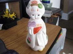White Chalk Little Asian Girl Figurine #P0153