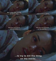 Okay, if you haven't seen Girl, Interrupted then you need to. I watched it and it is such a amazing movie. It's on Netflix. WATCH IT IT'S SO GREAT. ♥ (btw, that movie is where this pic is from so just sayinnn) Girl Interrupted Quotes, Mood Quotes, True Quotes, Citations Film, I Love Cinema, Movie Lines, Baddie Quotes, Film Quotes, Quote Aesthetic